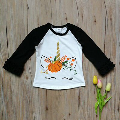Children's Unicorn Halloween Pumpkin Print Long Sleeve Cotton T-Shirt Top