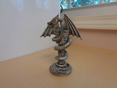 Vintage Comstock Pewter Dragon Statue-Jewelled