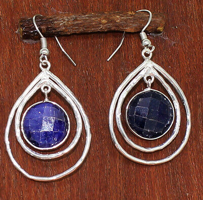 Faceted Indian Sapphire 925 Sterling Silver Overlay Dangle Earring MM 50 ERH_967