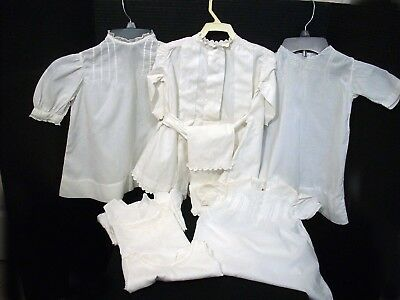 Antique Victorian White Cotton Baby/Doll Crocheted Pillow Case 4 Dresses 3 Slips