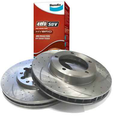 SLOTTED DIMPLED Front 332mm BRAKE ROTORS BENDIX PADS D2216S x2 PAJERO 06~19 3.2L