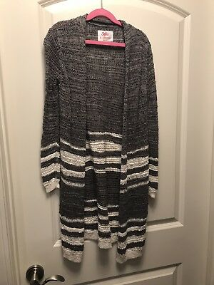 JUSTICE Long Cardigan Sweater Gray & White with Metallic Thread Sz 8