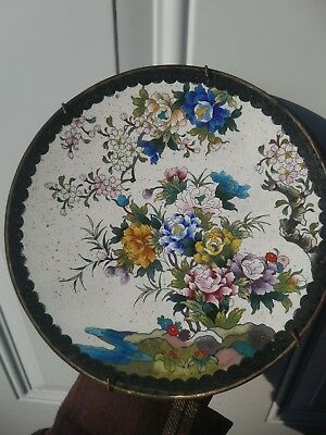 ANTIQUE 19th Century Japanese MEIJI PERIOD Cloisonne CHARGER plate dish 7.25in