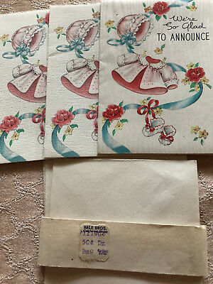 Vintage 3 NEW birth announcements w/envelopes 1942 Rust Craft