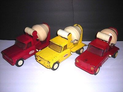 Vintage 1960's Tonka Jeep Cement Mixer Truck Pressed Steel lot of (3)