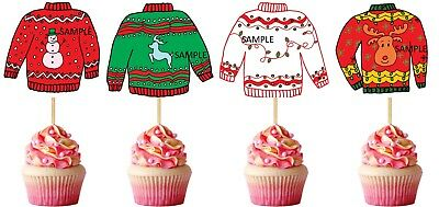 / Set of 12 UGLY SWEATERS TOPPERS CUPCAKE PICKS Toppers Party DIE CUTS - REF 1