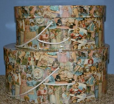 "2 Stack able Hat Boxes ""19th Century Childhood Design"" Print"