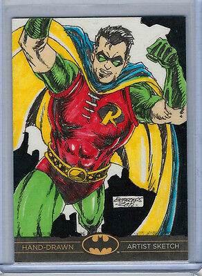 Robin Batman: The Legend 2013 Cryptozoic DC Sketch Card by Dan Borgonos 1/1