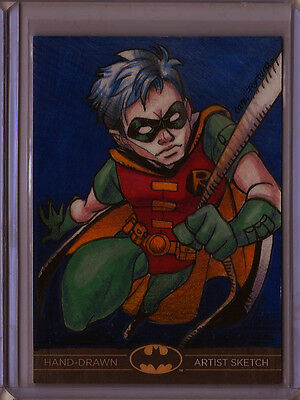 Robin Batman: The Legend 2013 Cryptozoic DC Sketch Card by Camila Fortuna 1/1