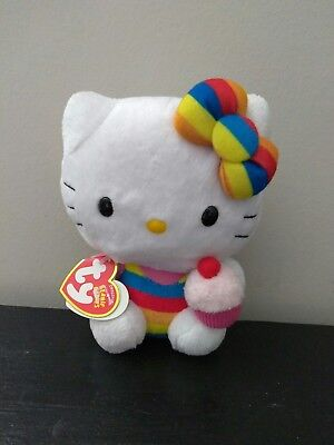 """Hello Kitty Plush Rainbow Colored Outfit & Bow 6""""Inch"""