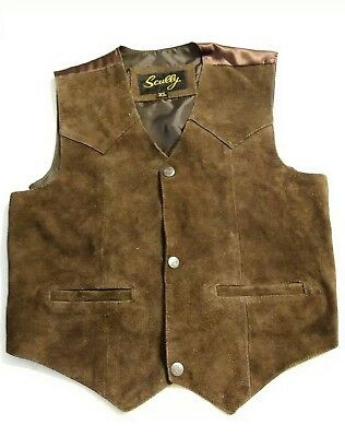 Scully XL Leather Kids Boys Brown Western Vest