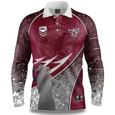 NRL 2019 Long Sleeve Fishing Polo Tee Shirt - Manly Sea Eagles - Adult Youth