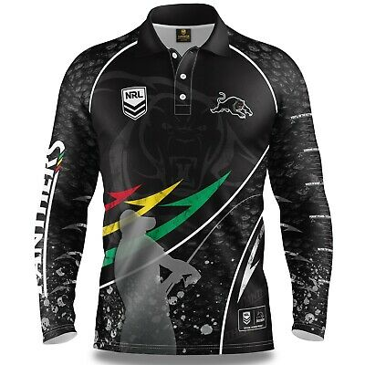 NRL 2019 Long Sleeve Fishing Polo Tee Shirt - Penrith Panthers - Adult Youth