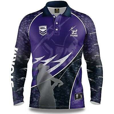NRL 2019 Long Sleeve Fishing Polo Tee Shirt - Melbourne Storm - Adult Youth