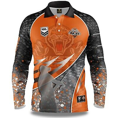 NRL 2019 Long Sleeve Fishing Polo Tee Shirt - West Tigers - Adult Youth