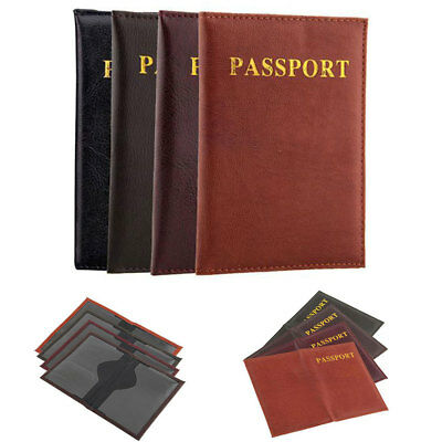 Printed Travel Passport Holder Cover Faux Leather ID Card Ticket Organizer Case
