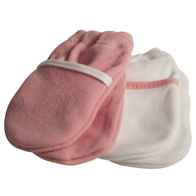 Safety 1st Mittens No Scratch Pink Salmon & White - 2 Pack