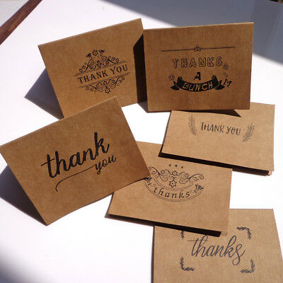 18pcs kraft paper thank you greeting cards envelopes seal stickers party decor H