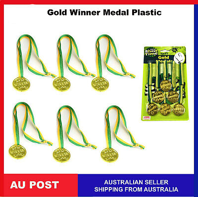 12, 6 x Gold Winner Medal Medals plastic Olympics Prizes Party Favor Sports game