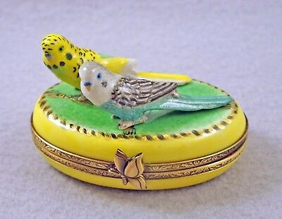 New French Limoges Trinket Box Yellow &green Budgie Budgerigar Parrot Parakeets