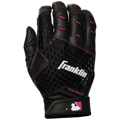 Franklin Sports MLB 2nd Skinz Fastpitch Softball Batting Gloves Black/Pink
