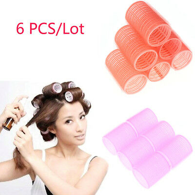 Fashion 6pcs Large Hair Salon Rollers Curlers Tools Hairdressing Tool Soft DIY