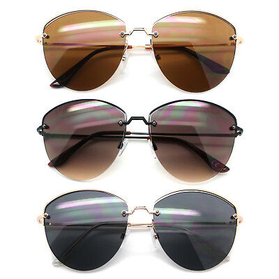 Designer Inspired Round Oval Sunglasses Half Frame Flat Lens Women Fashion