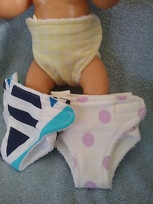 "3 HANDMADE NAPPIES TO FIT ZAPH BABY BORN 17"" DOLL 7 sets to choose from"
