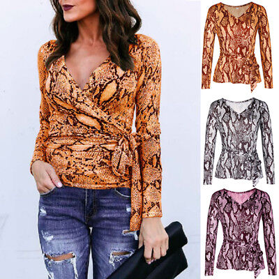Womens Wrap V-neck Long Sleeve T Shirt Ladies Casual Tops Blouse Snake Print Tee