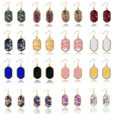 Women Acrylic Resin Geometric Stud Earrings Flower Drop Dangle Statement Jewelry