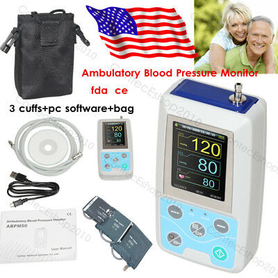 NIBP Holter Ambulatory Blood Pressure Monitor 3 cuffs,usb pc software, FDA CE