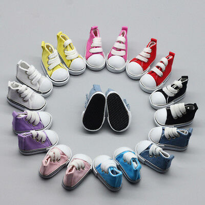 1/6( 5cm) Doll Shoes Canvas Mini Shoelace Bjd For Russian Tilda Doll Sneackers