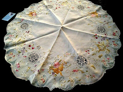 "Exquisite Antique 'Society Silk' Hand Embroidered linen large Centre 30"" Dia"