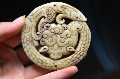 Unique Chinese old jade hand carved dragon lucky Pendant  a02