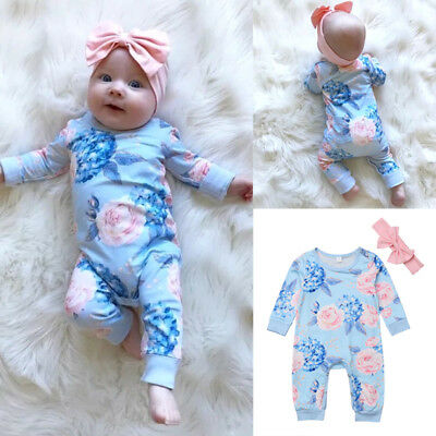 2Pcs Newborn Baby Girls Flower Romper Bodysuit Headband Outfits Clothes AU Stock