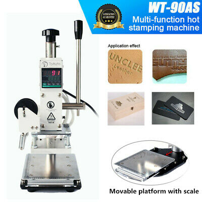 220V Manual Hot Foil Stamping Machine Leather PU Wood Logo Press Bronzing 8*10CM