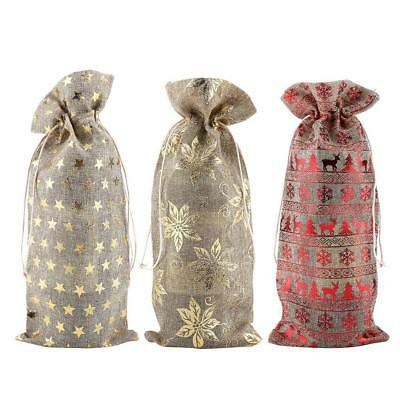 12pcs Simple Linen Fabric Wine Bag Pouch Wine Bottle Cover Drawstring Decor Bag