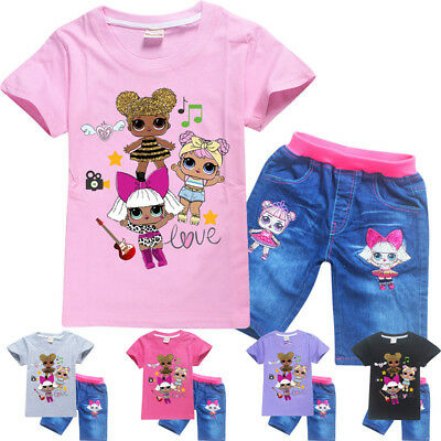 HOT LoL surprise dolls Cartoon Girls T-shirts Tops tshirts+Jeans trouser sets  E