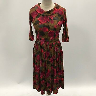 VINTAGE Red Brown Floral Unbranded Pleated Soft Tea Dress Womens Size UK S 32852