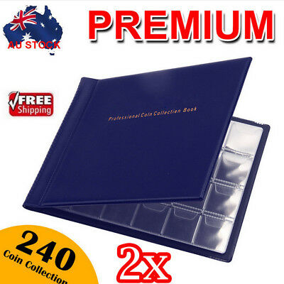 2x 240 Coin Holder Collection Storage Collecting Money Penny Pockets Album Book