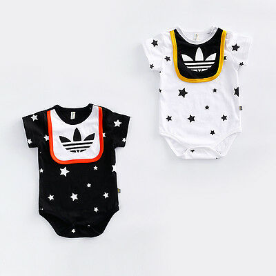 New Baby Newborn Girl Boy Short Sleeve Romper w/ Stars Bodysuit Jumpsuit Clothes