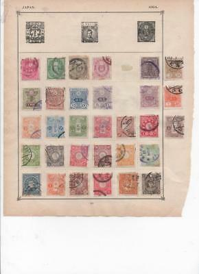 lf117 Japan 2 sides album page 45  stamps mixed condition
