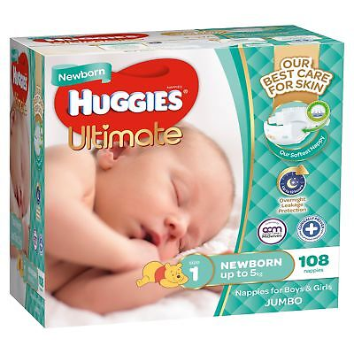 Huggies Ultimate Nappies Jumbo 108 Pack Newborn
