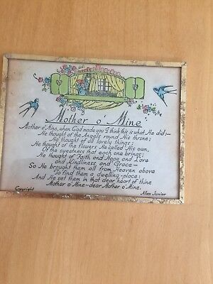 Very Old Antique Mother O Mine Plaque. From Early 1900's