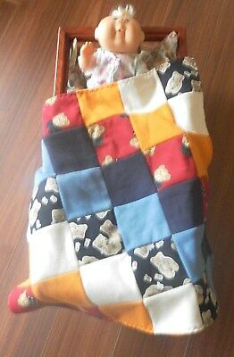 Two Doll blankets. Patchwork. Reversible. Washable.