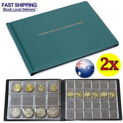 2x 240 Collection Storage Penny Pockets Album Money Book Collecting Coin Holders