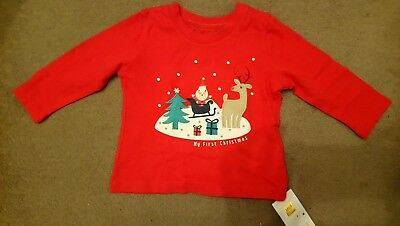 M&S My 1st christmas Long Sleeve Top 3-6 Months Unisex Boys Girls