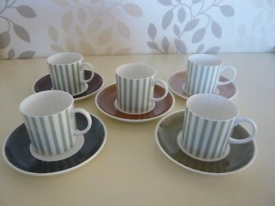 Five Susie Cooper Regency Stripe Coffee Cans and Saucers