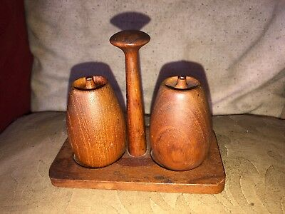 Mid 20th Century Stylish Teak Wooden Condiment Set On Fitted Base