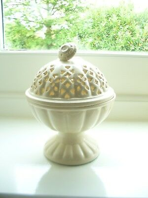 Royal Creamware Lidded Pedestal Bowl - Very Good Condition